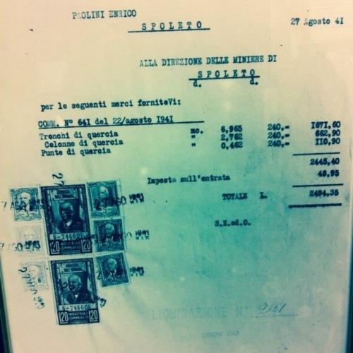 Fattura storica del 1941